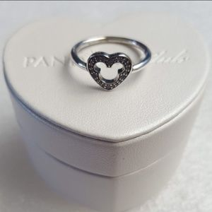 Pandora heart silhouette Mickey ring sterling silv